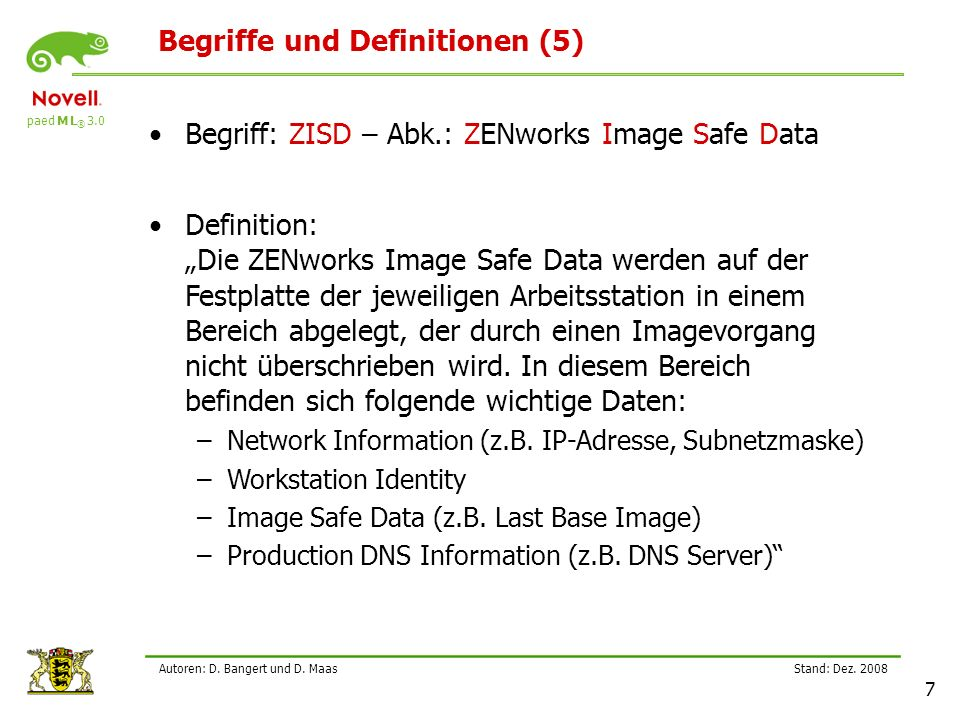 paed M L ® 3.0 Stand: Dez.2008 28 Autoren: D. Bangert und D.