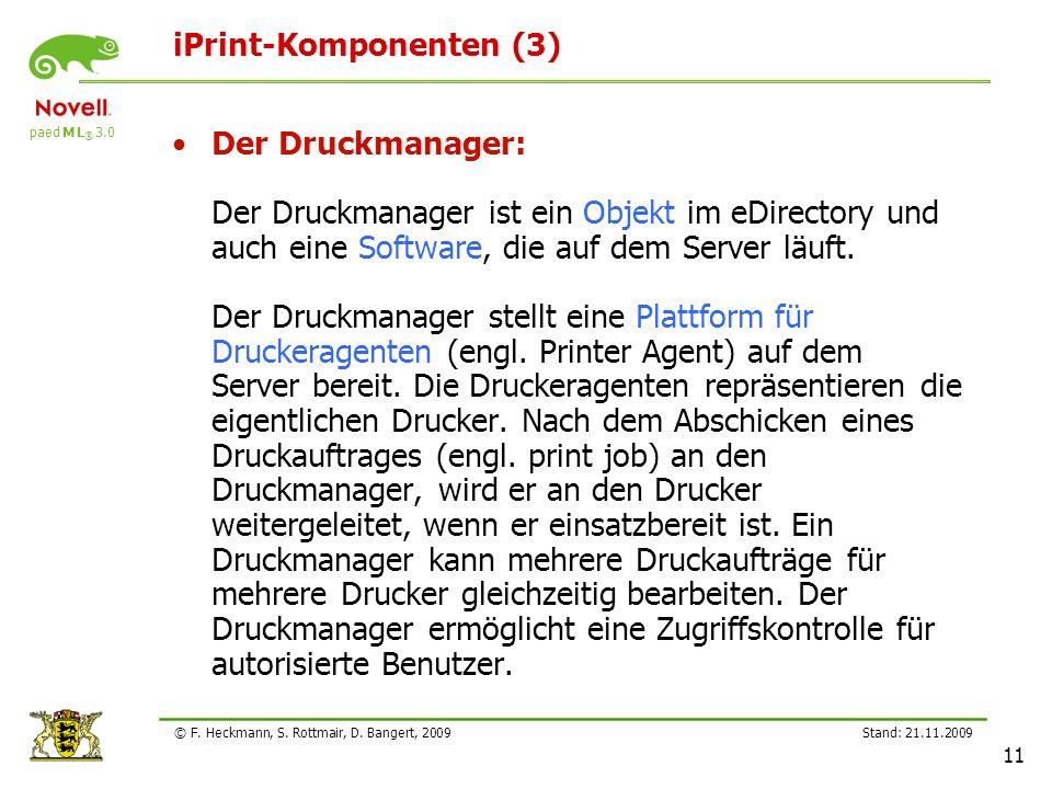 paed M L ® 3.0 Stand: 21.11.2009 11 © F. Heckmann, S. Rottmair, D. Bangert, 2009 iPrint-Komponenten (3) Der Druckmanager: Der Druckmanager ist ein Obj