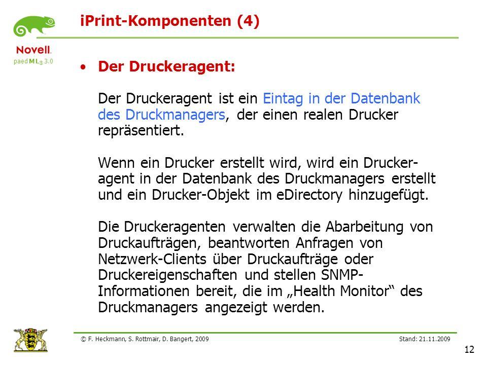 paed M L ® 3.0 Stand: 21.11.2009 12 © F. Heckmann, S. Rottmair, D. Bangert, 2009 iPrint-Komponenten (4) Der Druckeragent: Der Druckeragent ist ein Ein
