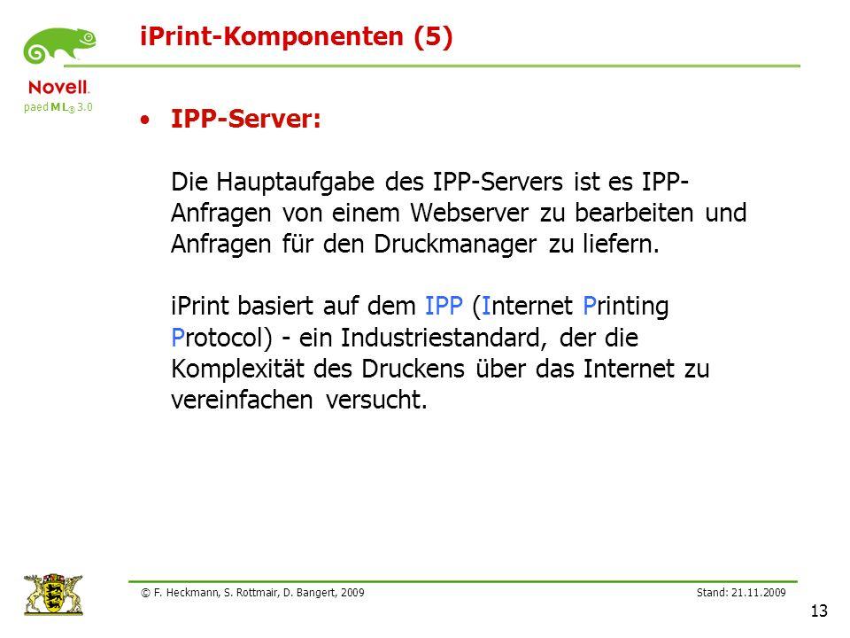 paed M L ® 3.0 Stand: 21.11.2009 13 © F. Heckmann, S. Rottmair, D. Bangert, 2009 iPrint-Komponenten (5) IPP-Server: Die Hauptaufgabe des IPP-Servers i