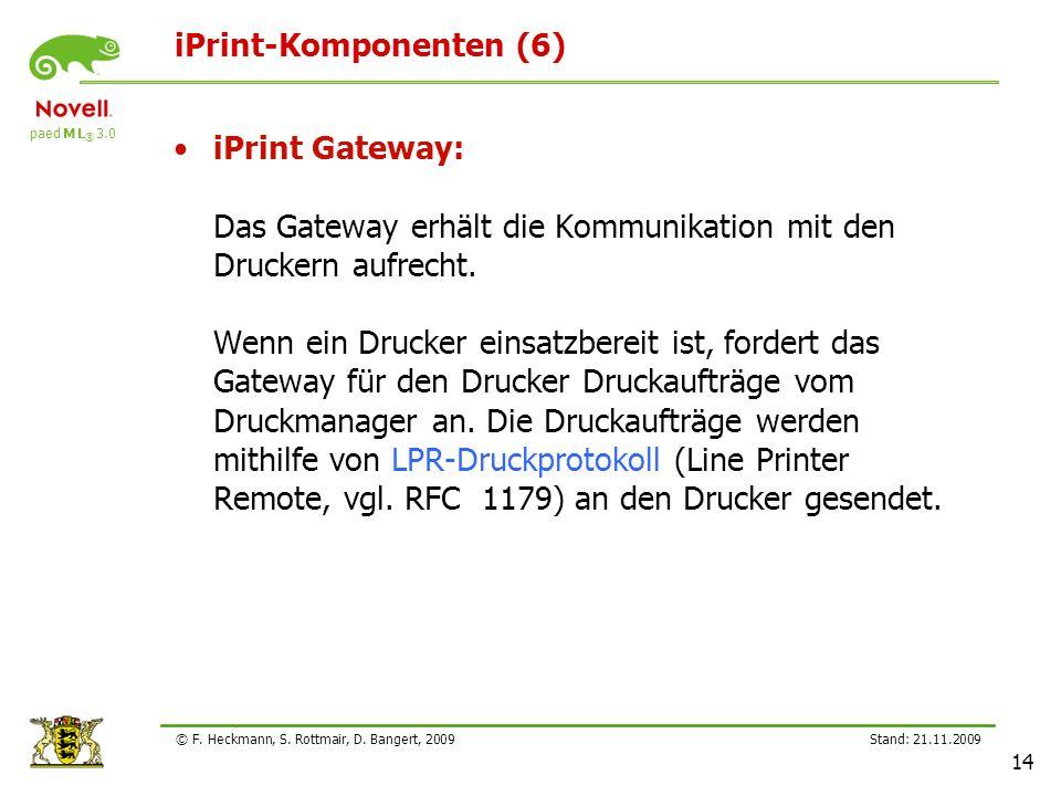 paed M L ® 3.0 Stand: 21.11.2009 14 © F. Heckmann, S. Rottmair, D. Bangert, 2009 iPrint-Komponenten (6) iPrint Gateway: Das Gateway erhält die Kommuni