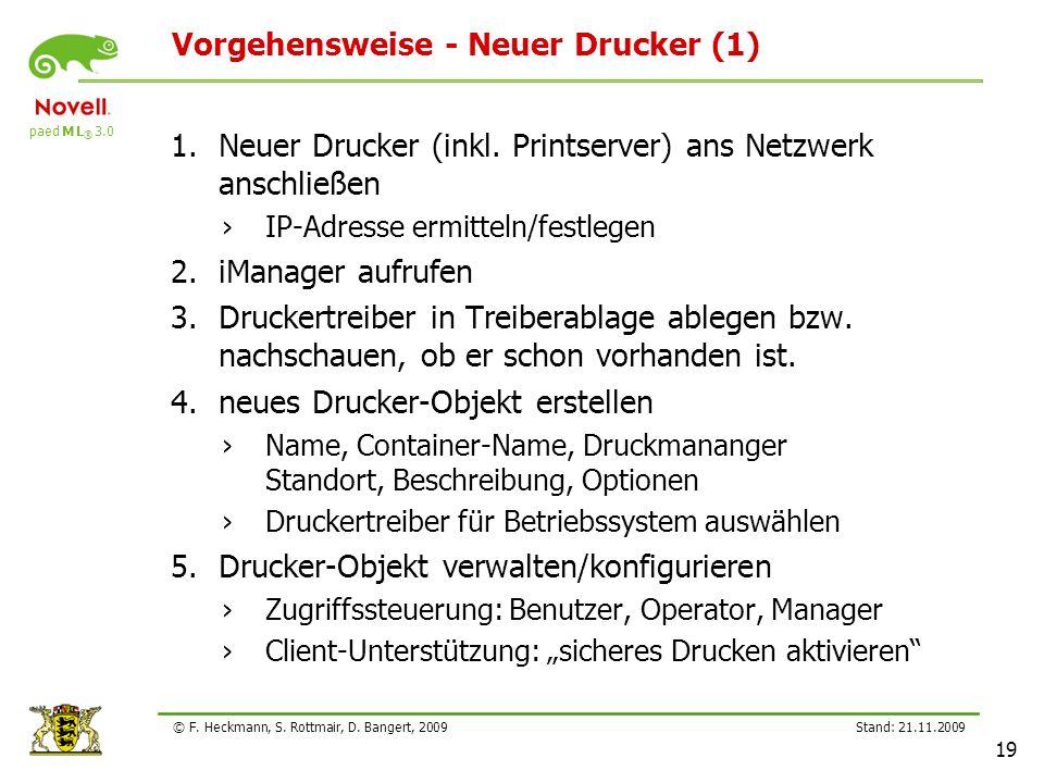 paed M L ® 3.0 Stand: 21.11.2009 19 © F. Heckmann, S. Rottmair, D. Bangert, 2009 Vorgehensweise - Neuer Drucker (1) 1.Neuer Drucker (inkl. Printserver
