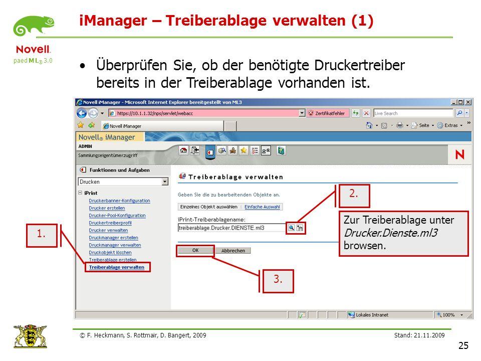 paed M L ® 3.0 Stand: 21.11.2009 25 © F. Heckmann, S. Rottmair, D. Bangert, 2009 iManager – Treiberablage verwalten (1) Überprüfen Sie, ob der benötig