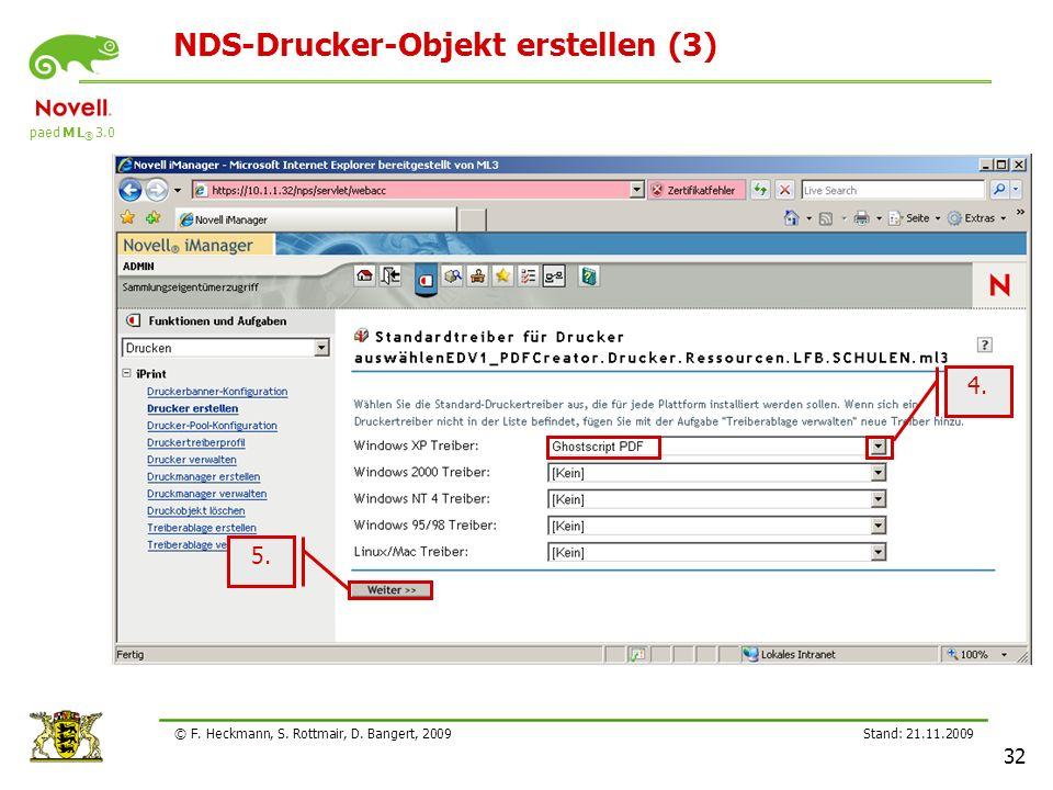 paed M L ® 3.0 Stand: 21.11.2009 32 © F. Heckmann, S. Rottmair, D. Bangert, 2009 NDS-Drucker-Objekt erstellen (3) 4. 5.