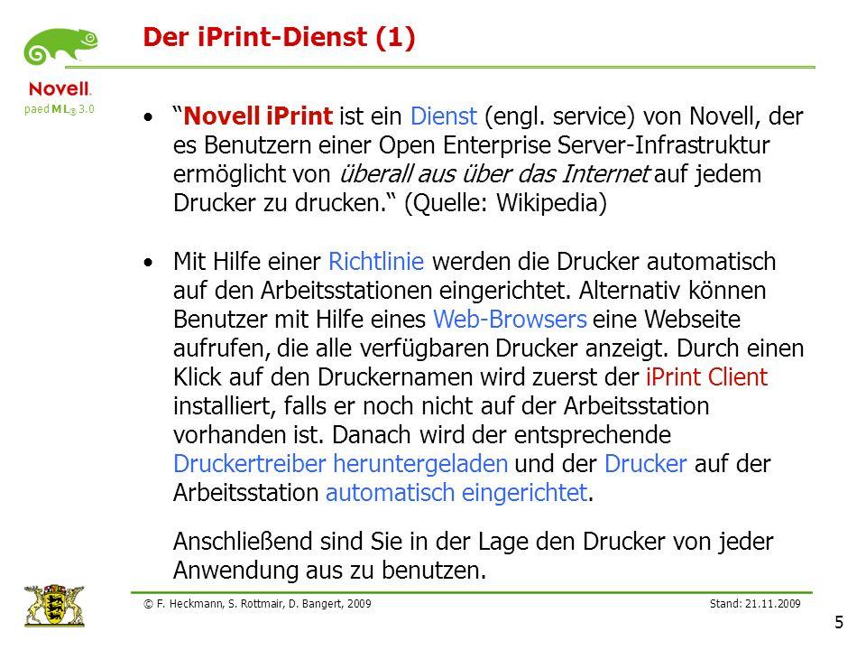 paed M L ® 3.0 Stand: 21.11.2009 5 © F. Heckmann, S. Rottmair, D. Bangert, 2009 Der iPrint-Dienst (1) Novell iPrint ist ein Dienst (engl. service) von