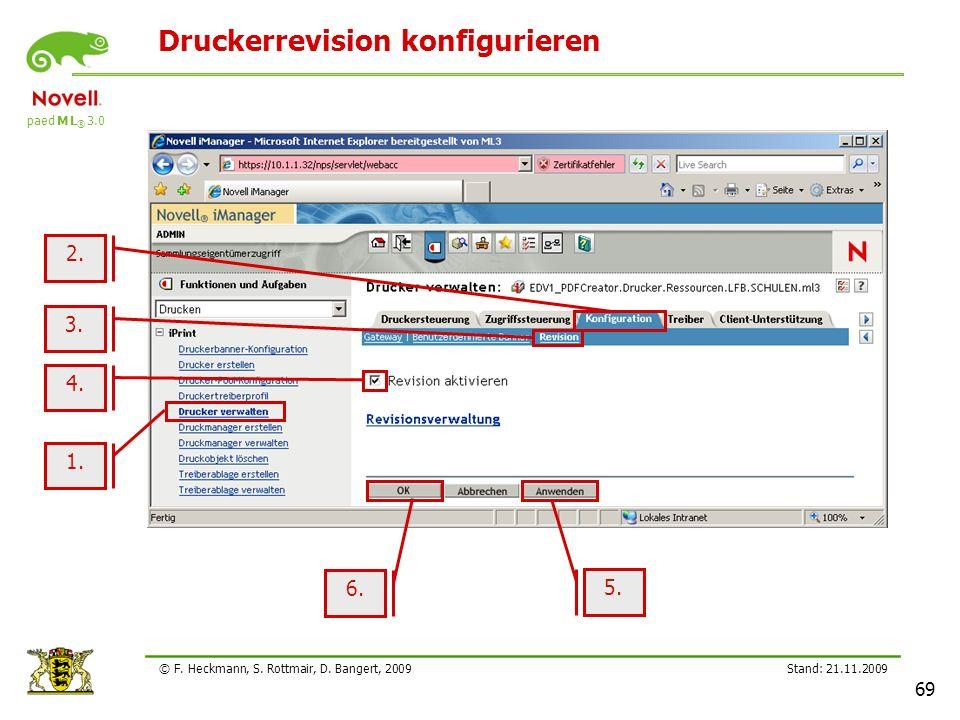 paed M L ® 3.0 Stand: 21.11.2009 69 © F. Heckmann, S. Rottmair, D. Bangert, 2009 Druckerrevision konfigurieren 1. 3. 6. 5. 2. 4.