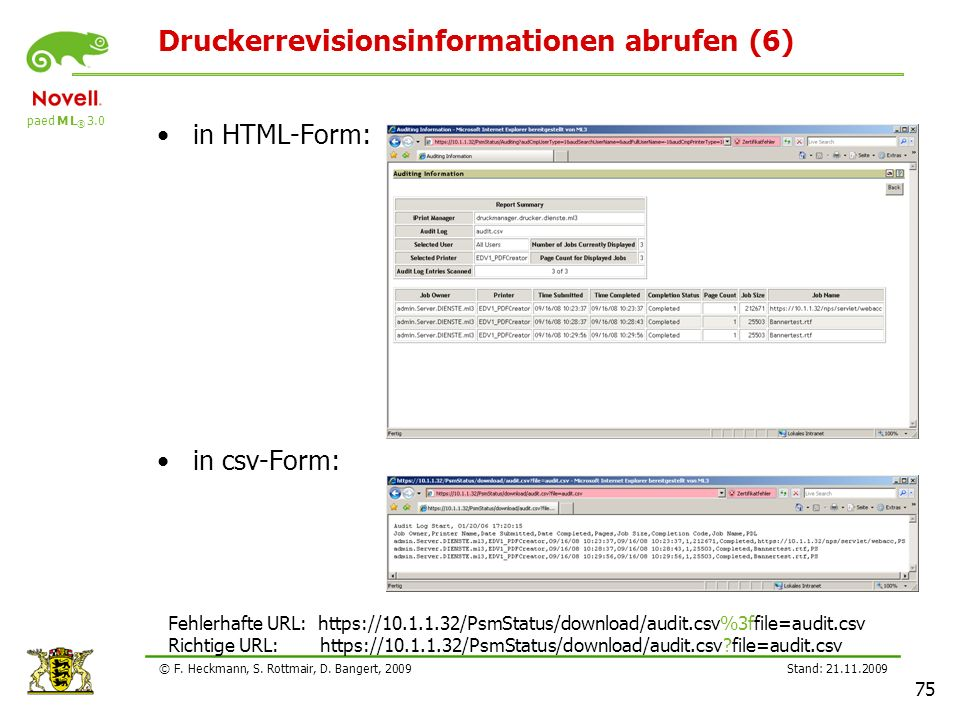 paed M L ® 3.0 Stand: 21.11.2009 75 © F. Heckmann, S. Rottmair, D. Bangert, 2009 Druckerrevisionsinformationen abrufen (6) in HTML-Form: in csv-Form: