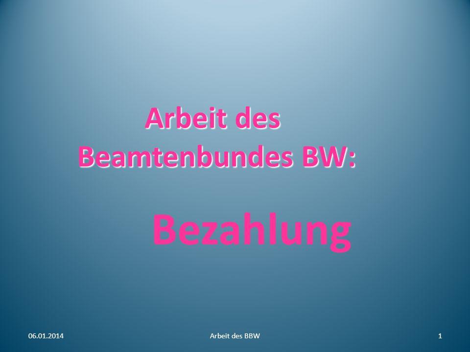 Arbeit des Beamtenbundes BW: Arbeit des Beamtenbundes BW: Bezahlung 06.01.20141Arbeit des BBW