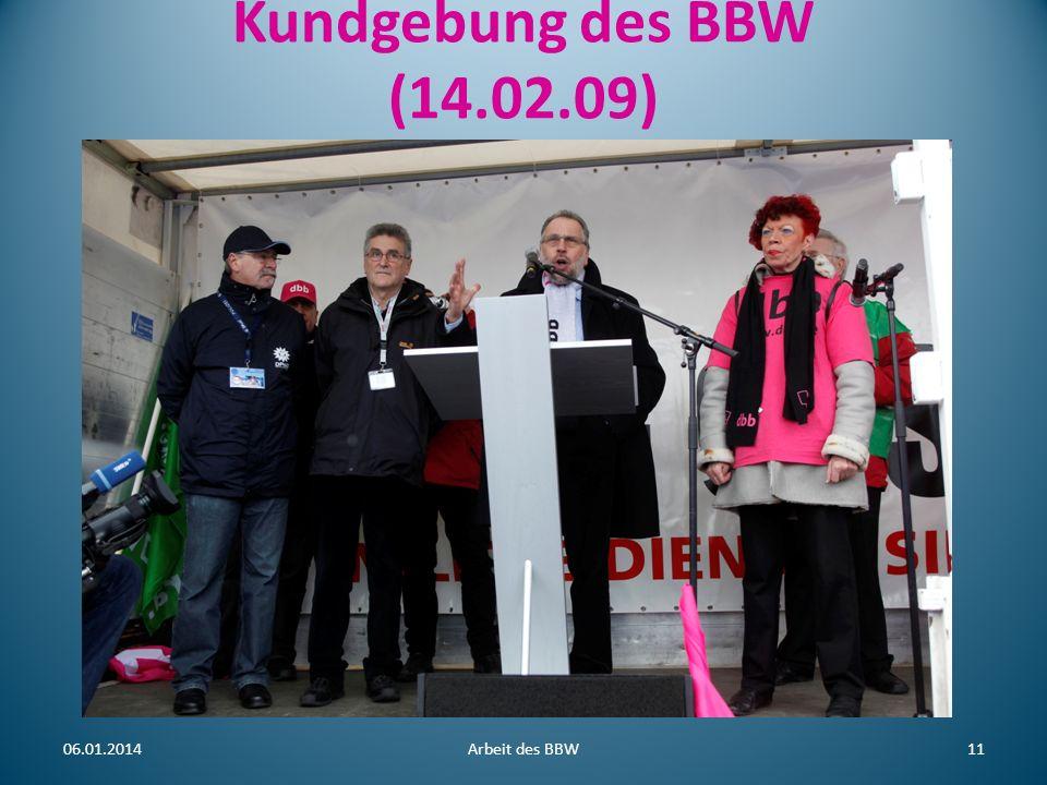 Machtvolle Demonstration aus eigener Kraft: 06.01.2014Arbeit des BBW12