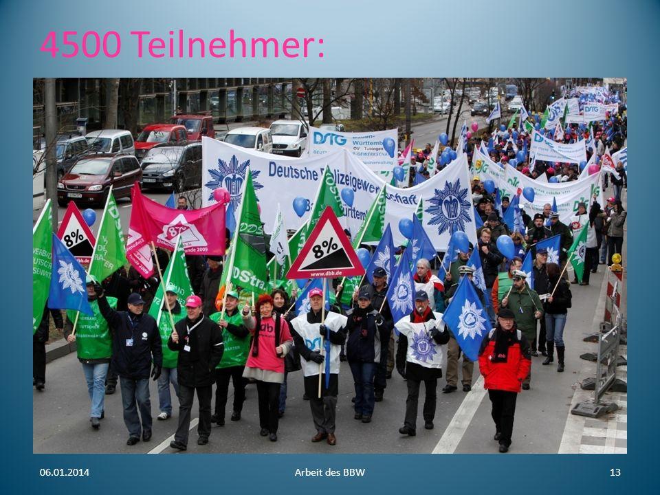 4500 Teilnehmer: 06.01.2014Arbeit des BBW13