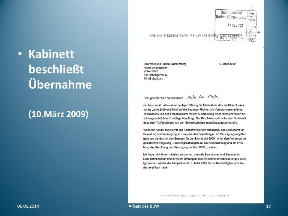 Kabinett beschließt Übernahme (10.März 2009) 06.01.2014Arbeit des BBW17