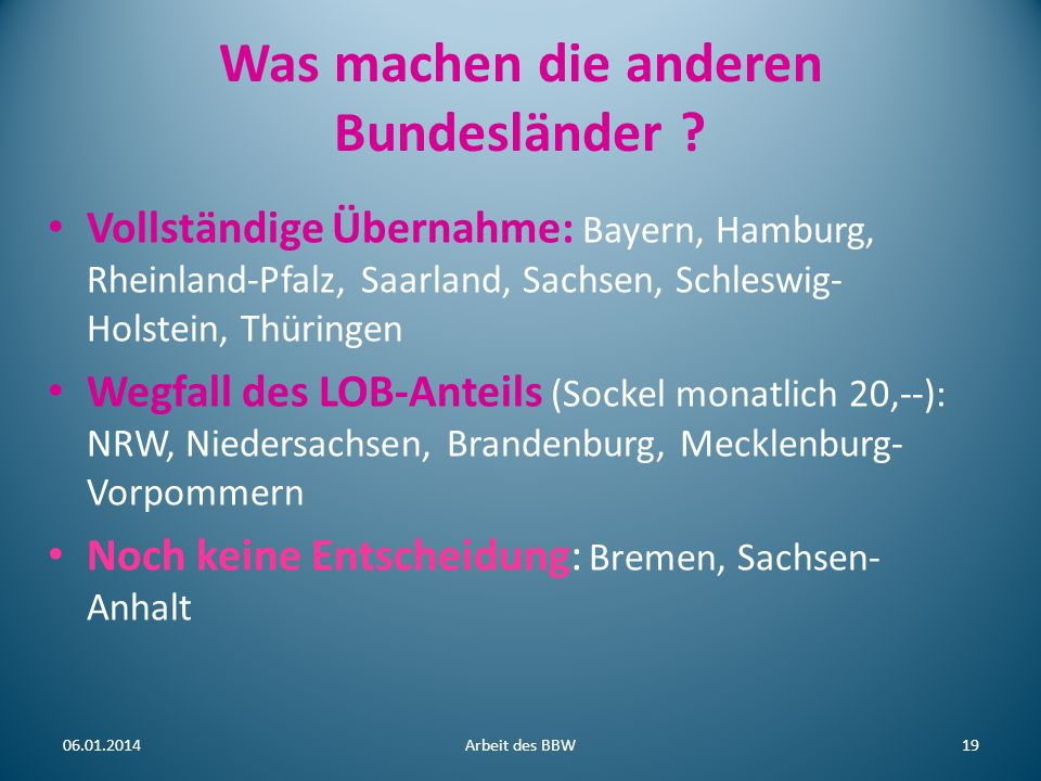 Was machen die anderen Bundesländer ? Vollständige Übernahme: Bayern, Hamburg, Rheinland-Pfalz, Saarland, Sachsen, Schleswig- Holstein, Thüringen Wegf