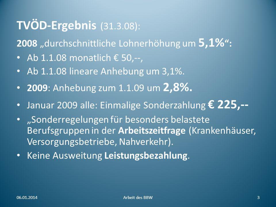 TVÖD-Ergebnis (31.3.08): 2008 durchschnittliche Lohnerhöhung um 5,1% : Ab 1.1.08 monatlich 50,--, Ab 1.1.08 lineare Anhebung um 3,1%. 2009: Anhebung z