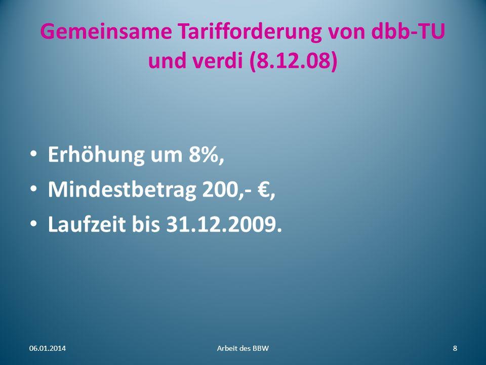 Gemeinsame Tarifforderung von dbb-TU und verdi (8.12.08) Erhöhung um 8%, Mindestbetrag 200,-, Laufzeit bis 31.12.2009. 06.01.2014Arbeit des BBW8