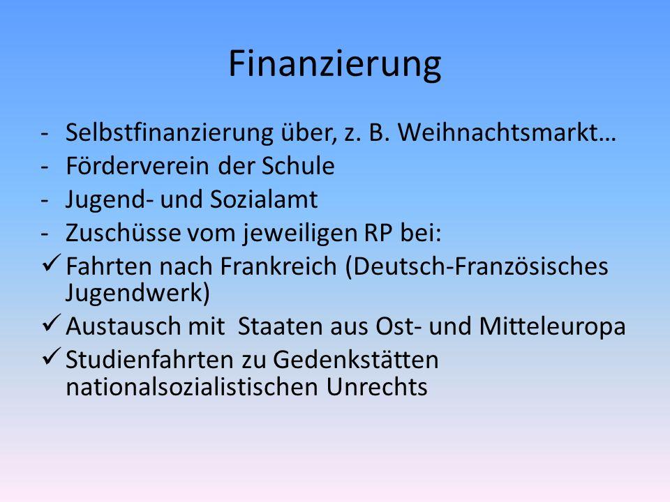 Finanzierung -Selbstfinanzierung über, z. B. Weihnachtsmarkt… -Förderverein der Schule -Jugend- und Sozialamt -Zuschüsse vom jeweiligen RP bei: Fahrte
