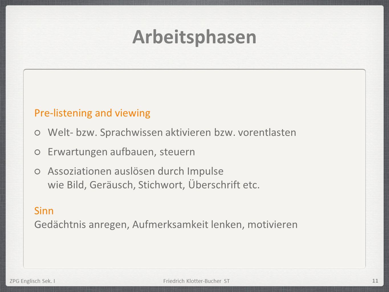 ZPG Englisch Sek. IFriedrich Klotter-Bucher ST 11 Arbeitsphasen Pre-listening and viewing Welt- bzw. Sprachwissen aktivieren bzw. vorentlasten Erwartu