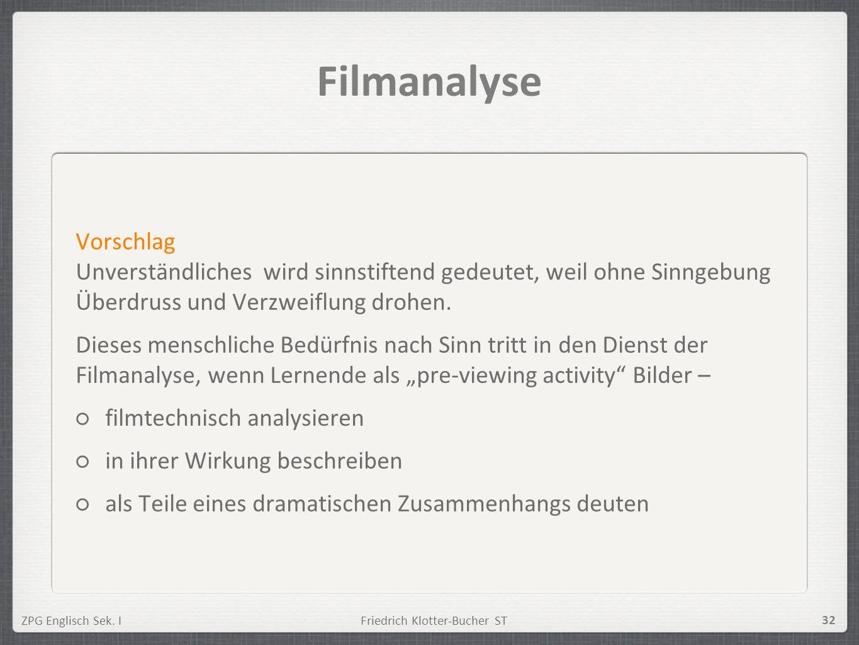 ZPG Englisch Sek. IFriedrich Klotter-Bucher ST 32 Filmanalyse Vorschlag Unverständliches wird sinnstiftend gedeutet, weil ohne Sinngebung Überdruss un