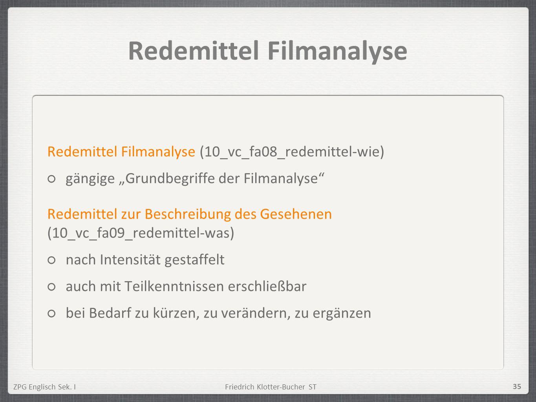 ZPG Englisch Sek. IFriedrich Klotter-Bucher ST 35 Redemittel Filmanalyse Redemittel Filmanalyse (10_vc_fa08_redemittel-wie) gängige Grundbegriffe der