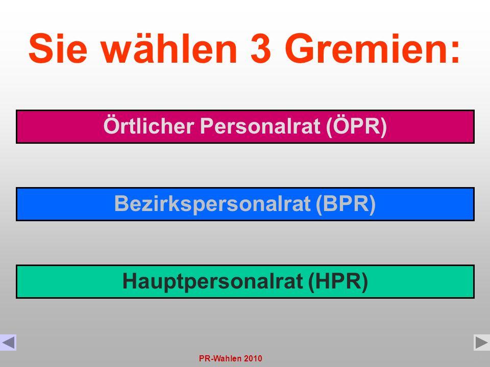 PR-Wahlen 20102 Sie wählen 3 Gremien: Örtlicher Personalrat (ÖPR) Bezirkspersonalrat (BPR) Hauptpersonalrat (HPR)