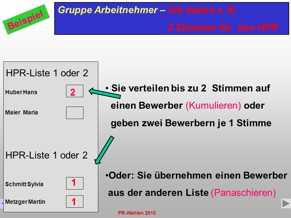 PR-Wahlen 20109 HPR-Liste 1 oder 2 Huber Hans Maier Maria Gruppe Arbeitnehmer – Sie haben z. B. 2 Stimmen für den HPR Beispiel Sie verteilen bis zu 2