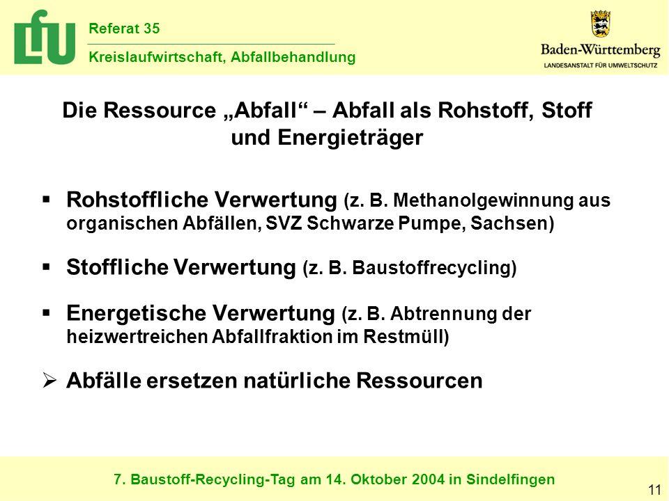 7. Baustoff-Recycling-Tag am 14. Oktober 2004 in Sindelfingen Referat 35 Kreislaufwirtschaft, Abfallbehandlung 11 Die Ressource Abfall – Abfall als Ro