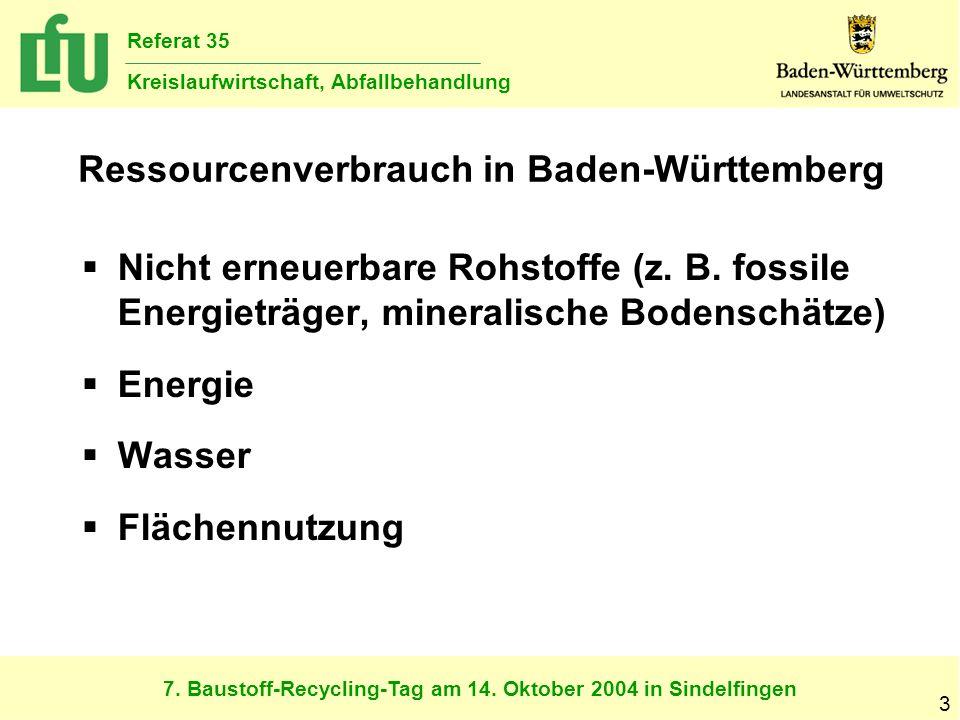 7. Baustoff-Recycling-Tag am 14. Oktober 2004 in Sindelfingen Referat 35 Kreislaufwirtschaft, Abfallbehandlung 3 Ressourcenverbrauch in Baden-Württemb