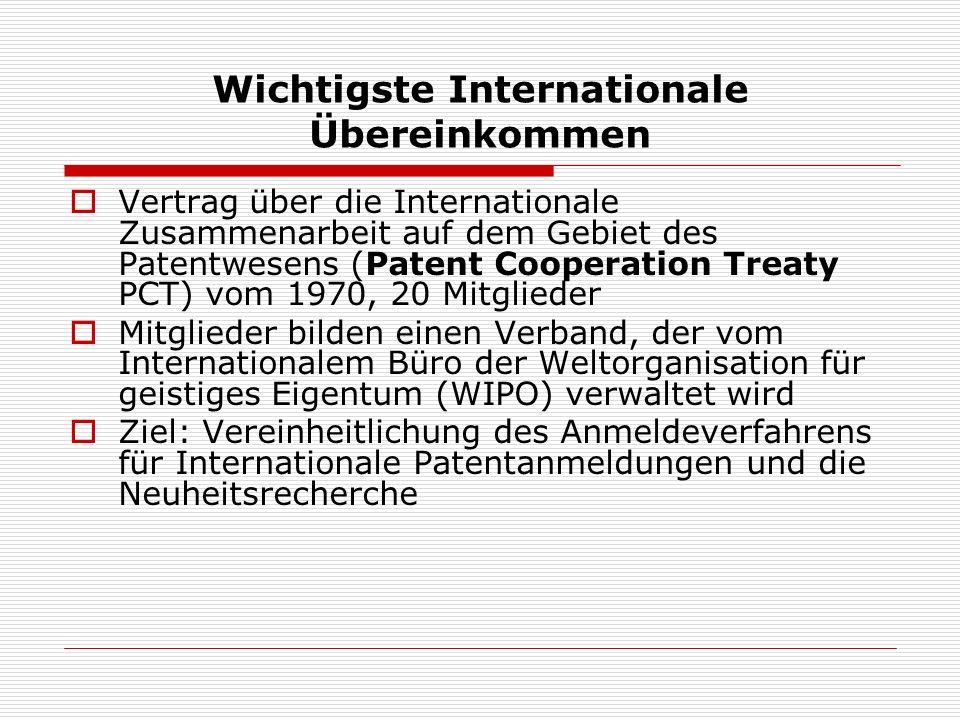 Wichtigste Internationale Übereinkommen Vertrag über die Internationale Zusammenarbeit auf dem Gebiet des Patentwesens (Patent Cooperation Treaty PCT)