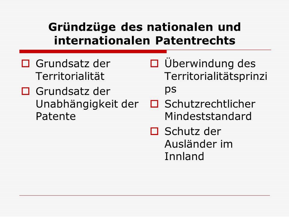 Gründzüge des nationalen und internationalen Patentrechts Grundsatz der Territorialität Grundsatz der Unabhängigkeit der Patente Überwindung des Terri