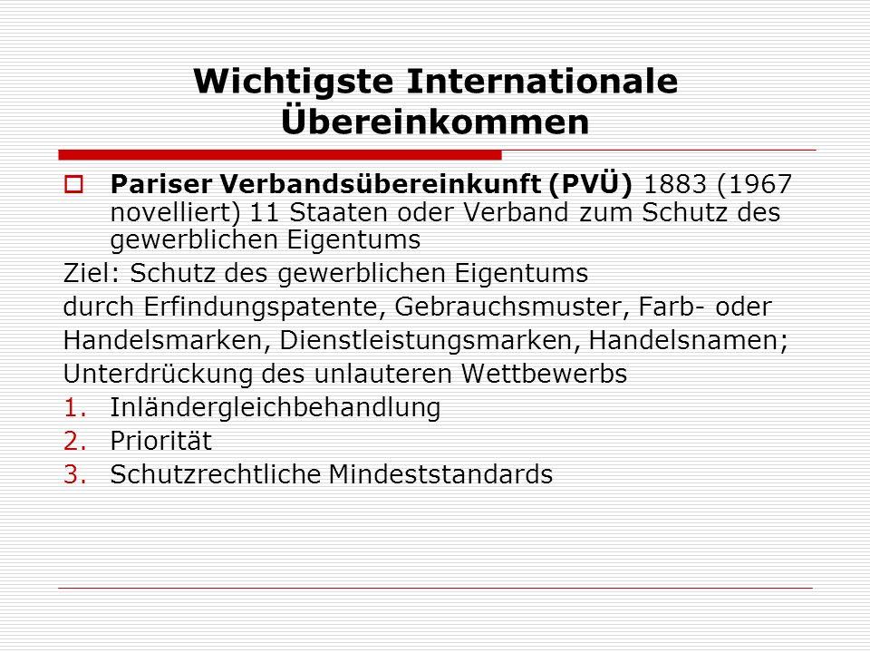 Wichtigste Internationale Übereinkommen Pariser Verbandsübereinkunft (PVÜ) 1883 (1967 novelliert) 11 Staaten oder Verband zum Schutz des gewerblichen