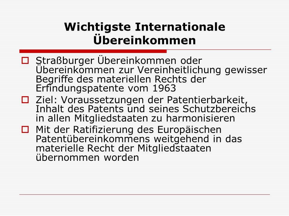 Wichtigste Internationale Übereinkommen Straßburger Übereinkommen oder Übereinkommen zur Vereinheitlichung gewisser Begriffe des materiellen Rechts de