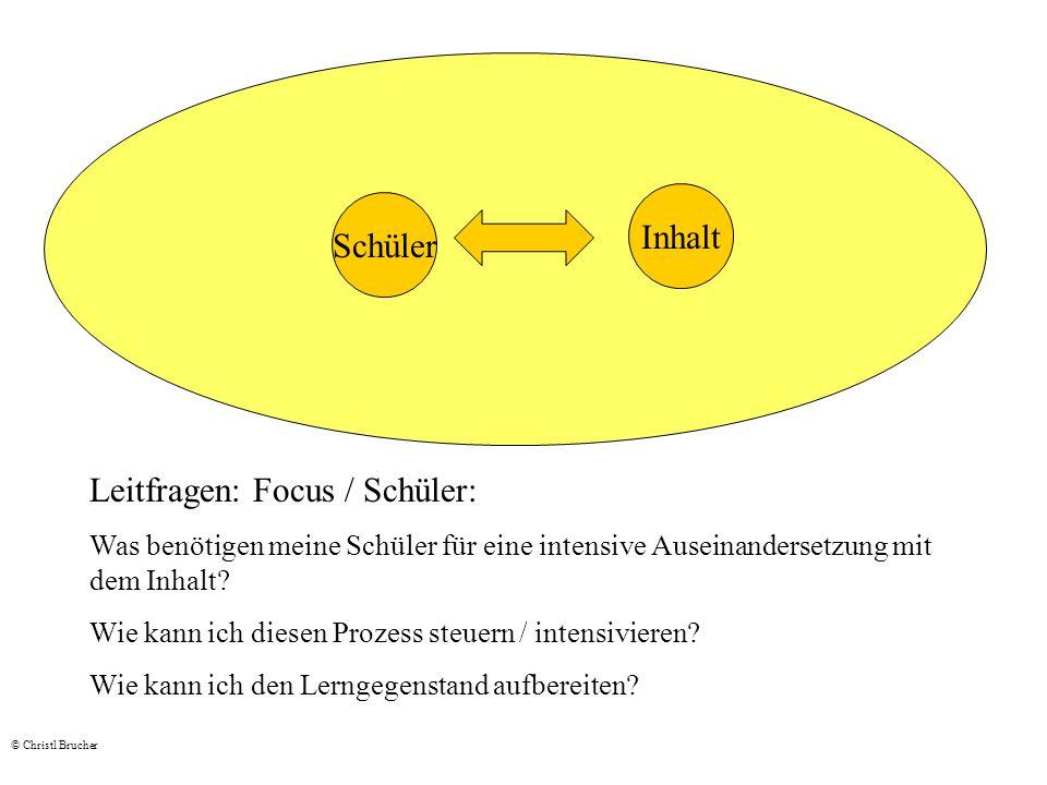 Schüler Inhalt Leitfragen: Focus / Schüler: Was benötigen meine Schüler für eine intensive Auseinandersetzung mit dem Inhalt? Wie kann ich diesen Proz