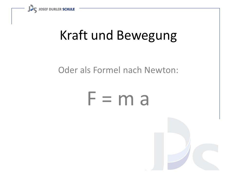 Kraft und Bewegung Oder als Formel nach Newton: F = m a