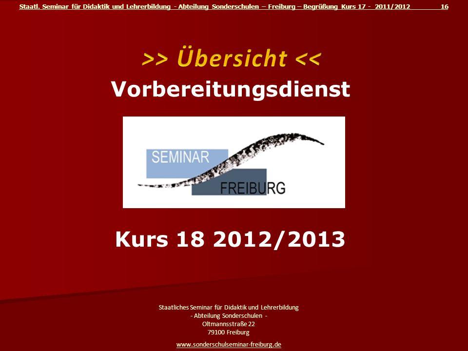 Staatl. Seminar für Didaktik und Lehrerbildung - Abteilung Sonderschulen – Freiburg – Begrüßung Kurs 17 - 2011/2012 16 Staatliches Seminar für Didakti