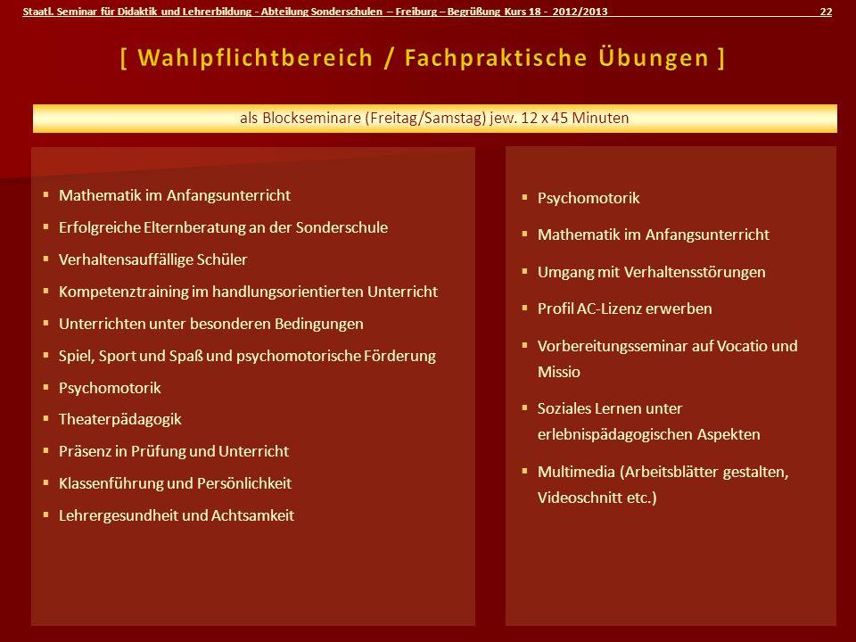 Staatl. Seminar für Didaktik und Lehrerbildung - Abteilung Sonderschulen – Freiburg – Begrüßung Kurs 18 - 2012/2013 22 Mathematik im Anfangsunterricht