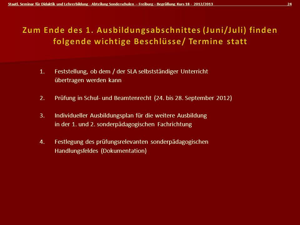 Staatl. Seminar für Didaktik und Lehrerbildung - Abteilung Sonderschulen – Freiburg – Begrüßung Kurs 18 - 2012/2013 24 1.Feststellung, ob dem / der SL