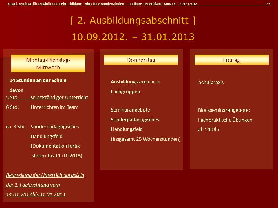 Staatl. Seminar für Didaktik und Lehrerbildung - Abteilung Sonderschulen – Freiburg – Begrüßung Kurs 18 - 2012/2013 25 Schulpraxis 14 Stunden an der S