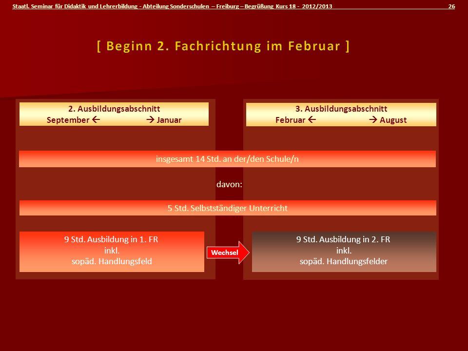 Staatl. Seminar für Didaktik und Lehrerbildung - Abteilung Sonderschulen – Freiburg – Begrüßung Kurs 18 - 2012/2013 26 insgesamt 14 Std. an der/den Sc