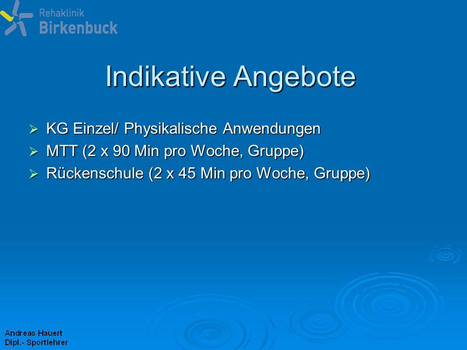 Indikative Angebote KG Einzel/ Physikalische Anwendungen KG Einzel/ Physikalische Anwendungen MTT (2 x 90 Min pro Woche, Gruppe) MTT (2 x 90 Min pro W
