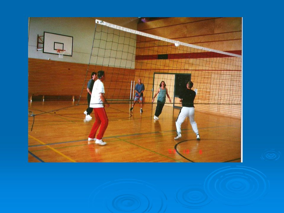Pflichtprogramm Geländebegehung Geländebegehung Einführung Fitnessgeräte Einführung Fitnessgeräte Gleichgewichtstest Gleichgewichtstest Ausdauertest Ausdauertest 2 x pro Woche 90 Min.