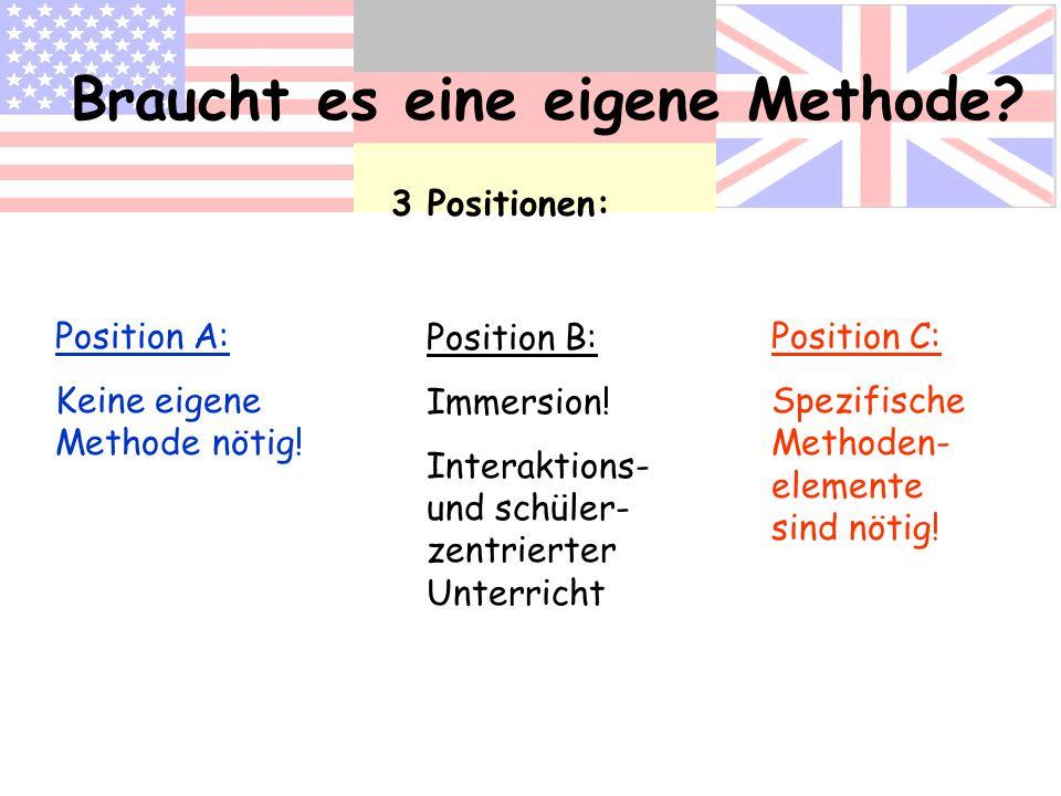 Braucht es eine eigene Methode? 3 Positionen: Position A: Keine eigene Methode nötig! Position B: Immersion! Interaktions- und schüler- zentrierter Un