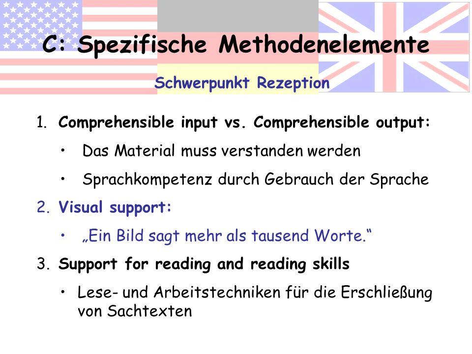 C: Spezifische Methodenelemente Schwerpunkt Rezeption 1. Comprehensible input vs. Comprehensible output: Das Material muss verstanden werden Sprachkom