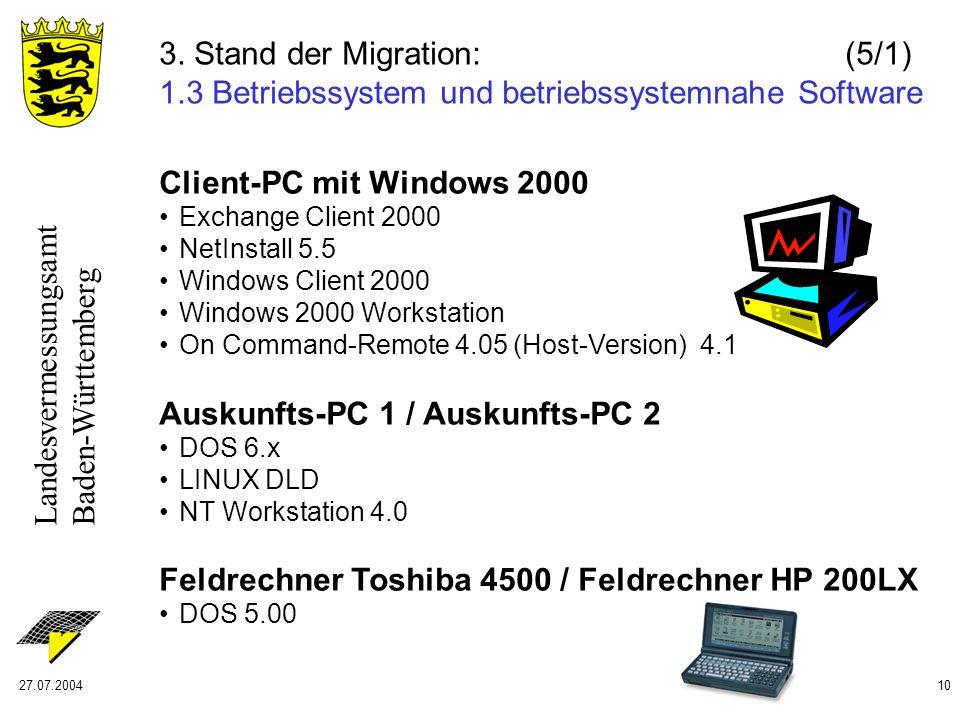 Landesvermessungsamt Baden-Württemberg 27.07.200410 3. Stand der Migration: (5/1) 1.3 Betriebssystem und betriebssystemnahe Software Client-PC mit Win