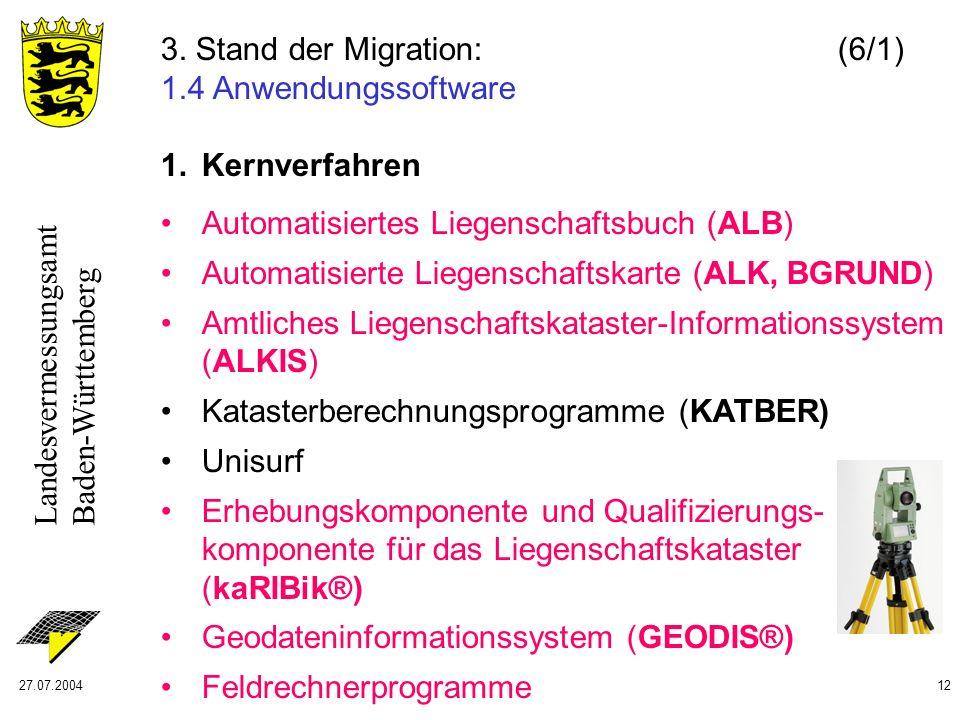 Landesvermessungsamt Baden-Württemberg 27.07.200412 1. Kernverfahren Automatisiertes Liegenschaftsbuch (ALB) Automatisierte Liegenschaftskarte (ALK, B