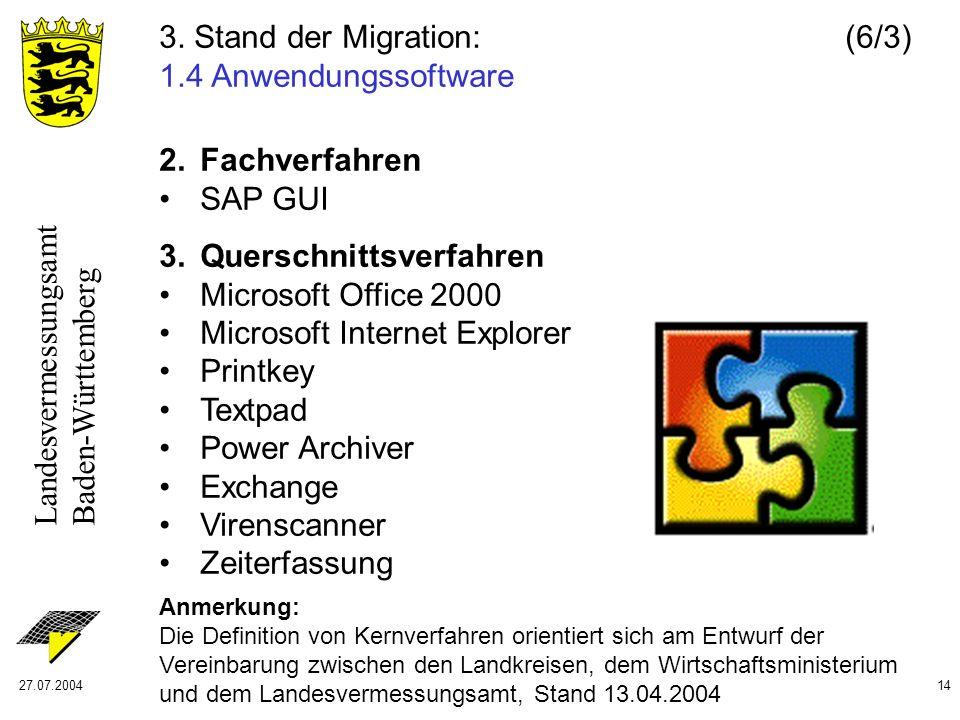 Landesvermessungsamt Baden-Württemberg 27.07.200414 2. Fachverfahren SAP GUI 3. Querschnittsverfahren Microsoft Office 2000 Microsoft Internet Explore