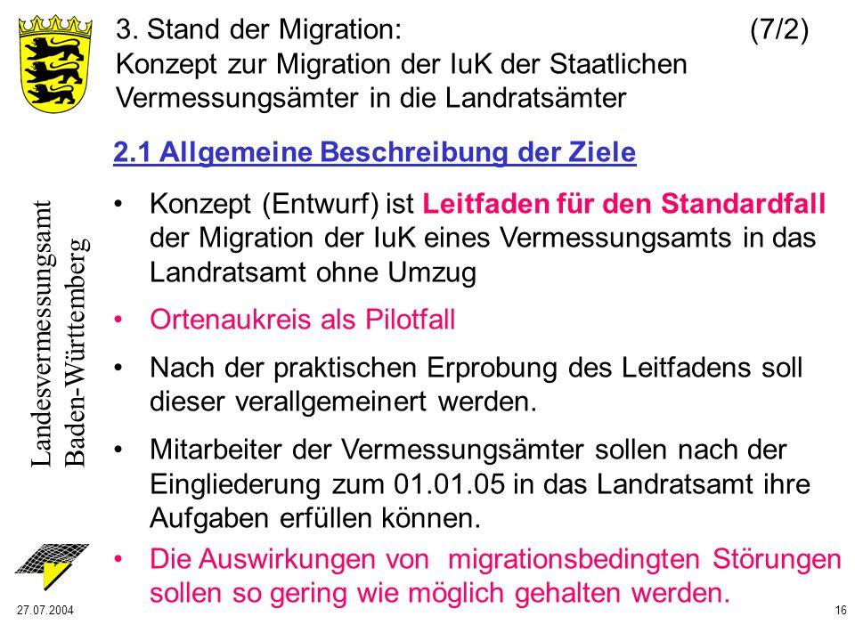 Landesvermessungsamt Baden-Württemberg 27.07.200416 2.1 Allgemeine Beschreibung der Ziele Konzept (Entwurf) ist Leitfaden für den Standardfall der Mig