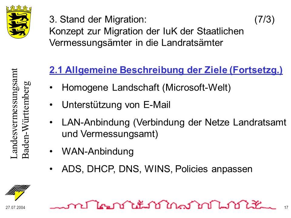 Landesvermessungsamt Baden-Württemberg 27.07.200417 2.1 Allgemeine Beschreibung der Ziele (Fortsetzg.) Homogene Landschaft (Microsoft-Welt) Unterstütz