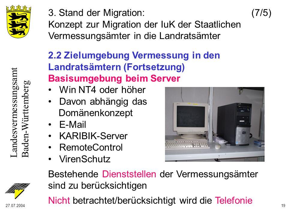 Landesvermessungsamt Baden-Württemberg 27.07.200419 2.2 Zielumgebung Vermessung in den Landratsämtern (Fortsetzung) Basisumgebung beim Server Win NT4