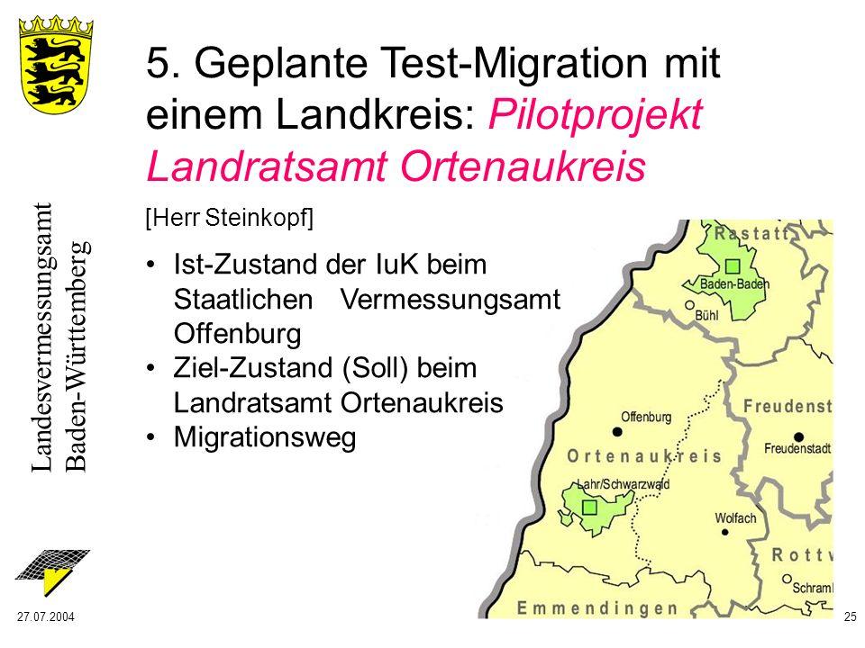 Landesvermessungsamt Baden-Württemberg 27.07.200425 5. Geplante Test-Migration mit einem Landkreis: Pilotprojekt Landratsamt Ortenaukreis [Herr Steink