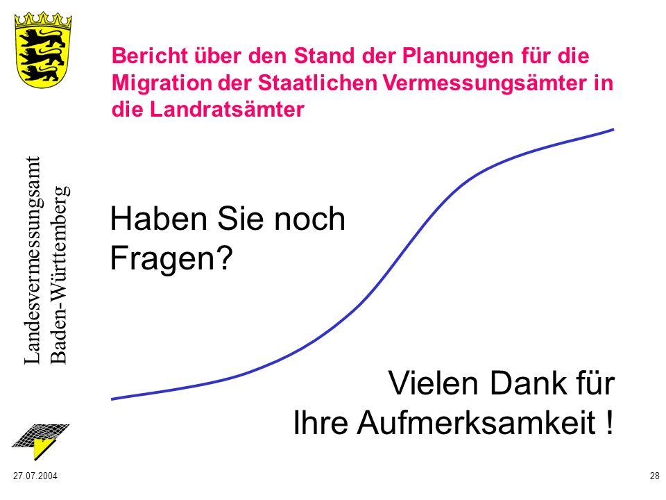 Landesvermessungsamt Baden-Württemberg 27.07.200428 Vielen Dank für Ihre Aufmerksamkeit ! Haben Sie noch Fragen? Bericht über den Stand der Planungen