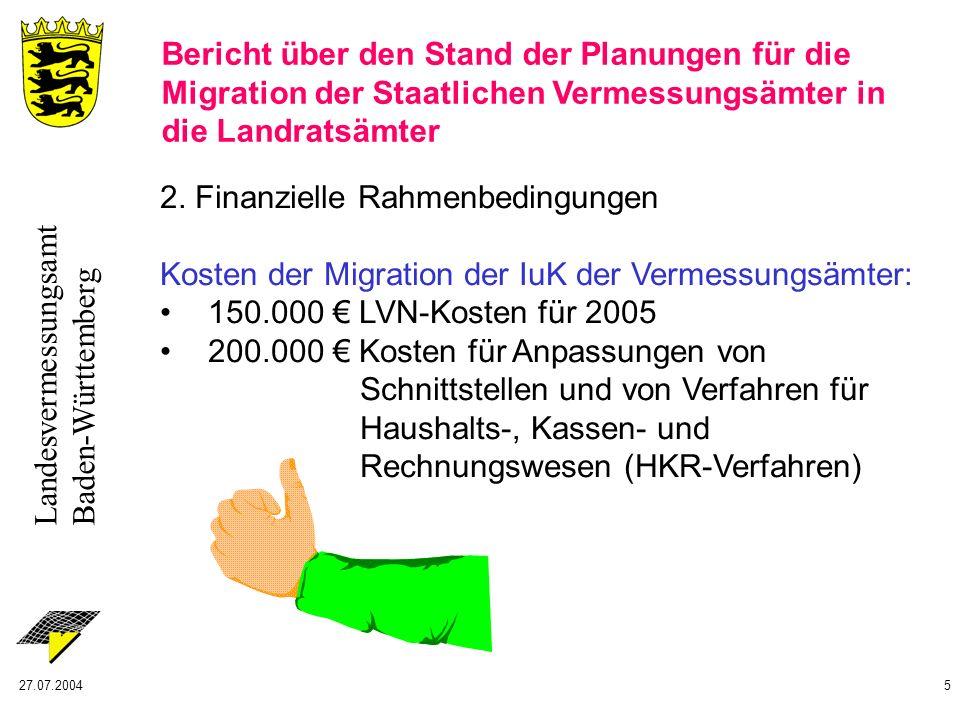 Landesvermessungsamt Baden-Württemberg 27.07.20045 2. Finanzielle Rahmenbedingungen Kosten der Migration der IuK der Vermessungsämter: 150.000 LVN-Kos